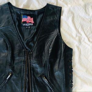 NWOT Vintage Style Genuine Leather Biker Vest